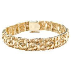 "6 3/4"" 14k Gold Heavy Nugget Bracelet"