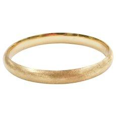 """7"""" 14k Gold Brushed Hinged Bangle Bracelet"""