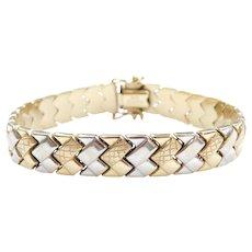 """7"""" 14k Gold Two-Tone Chevron Bracelet"""