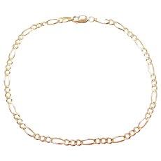 """9 1/4"""" 14k Gold Figaro Link Anklet"""