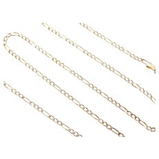 """16"""" 14k Gold Two-Tone Figaro Link Chain ~ 2.7 Grams"""