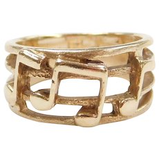 14k Gold Music Note Band Ring