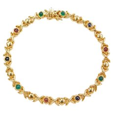 "7 1/4"" 14k Gold Sapphire, Garnet and Emerald Bracelet"