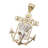 Mariners Cross with Eagle Pendant 10k Gold Two-Tone