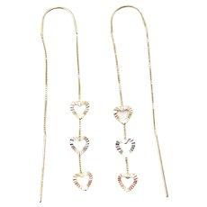 14k Gold Tri-Color Heart Threader Earrings