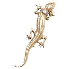 14k Gold Lizard / Gecko Pin with Diamond Collar