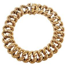 """Edwardian 18k Gold Wide Engraved Link Bracelet ~ 9"""""""