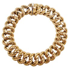 Edwardian 18k Gold Wide Engraved Link Bracelet ~ 9""