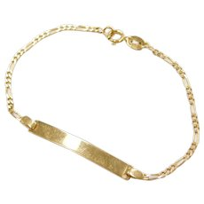 "5 1/4"" 18k Gold Baby / Childs Nameplate ID Bracelet"