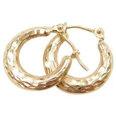 14k Gold Tiny Diamond Cut Hoop Earrings