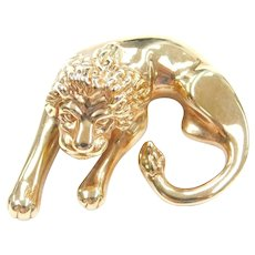 14k Gold Lion Slide Pendant
