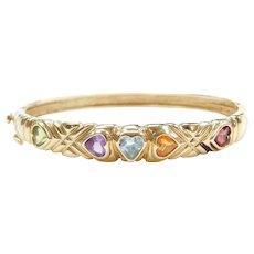 """6 5/8"""" 14k Gold Gemstone Heart Hinged Bangle Bracelet"""