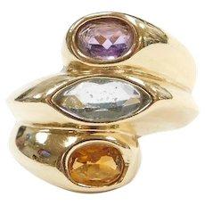14k Gold Wide Colorful Gemstone Ring ~ Amethyst, Blue Topaz, Citrine