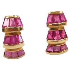10k Gold Natural Ruby Baguette Earrings
