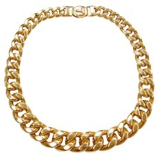 """16"""" 18k Gold WIDE Hollow Graduated Curb Link Necklace ~ 80.0 Grams"""