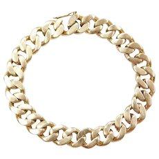 "7"" 14k Gold Heavy Curb Link Bracelet ~ 32.7 Grams"