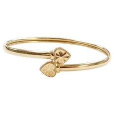 14k Gold Heart Bangle Bracelet