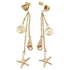 14k Gold Long Nautical Dangle Earrings ! Starfish, Sand Dollar, Shells