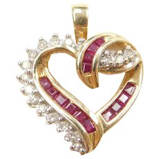 14k Gold Ruby and Diamond Heart Pendant
