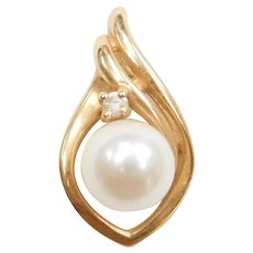 14k Gold Cultured Pearl and Diamond Pendant