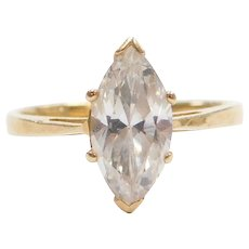 14k Gold Faux Diamond Marquise Engagement Ring