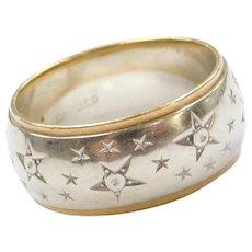 14k Gold Diamond Star Band Ring