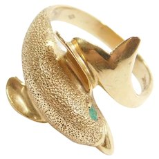 14k Gold Bypass Dolphin Ring with Emerald Eye
