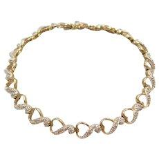 "6 1/4"" 10k Gold Diamond Heart Bracelet"