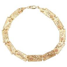 "7 3/8"" 10k Gold Two-Tone Flower Bracelet"