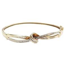 "7"" 10k Gold Two-Tone Diamond Bangle Bracelet"