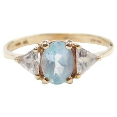 10k Gold Blue Topaz and Faux Diamond Ring