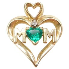 10k Gold Green Quartz and Diamond Heart MOM Pendant
