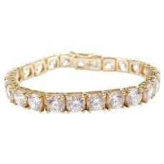 "6 7/8"" 14k Gold Faux Diamond Tennis Bracelet ~ 27 1/2 Carats"