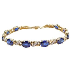 "7 1/2"" 10k Gold Created Sapphire and Diamond Two-Tone Bracelet"