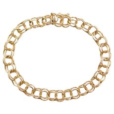 "6 3/4"" 14k Gold Double Link Charm Bracelet"