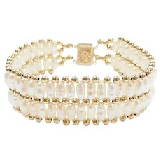 """7"""" 14k Gold Wide Freshwater Pearl Bracelet"""