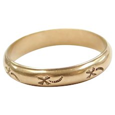 14k Gold Band Ring with Etching