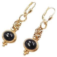 14k Gold Onyx Dangle Earrings