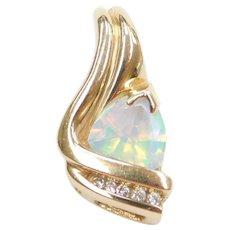 10k Gold Aurora Borealis and Diamond Pendant