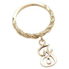 14k Gold Letter J Charm Ring