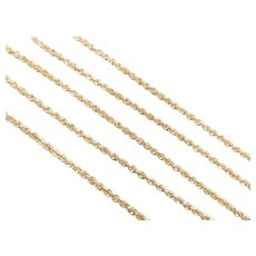 "Long Diamond Cut Hollow Rope Chain 14k Yellow Gold 30"" Length, 6.1 Grams"
