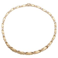 """Stampato Hug and Kiss Graduated Necklace 14k Yellow Gold 16 1/2"""" Length, 13.3 Grams"""