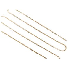 "Long Diamond Cut Rope Chain 14k Yellow Gold 24"" Length, 7.0 Grams"