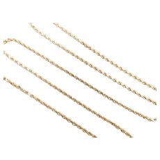"Solid Diamond Cut Rope Chain 14k Yellow Gold 20"" Length, 6.8 Grams"