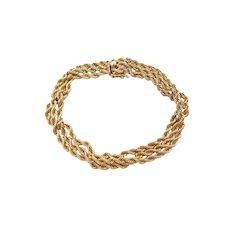 "7 3/4"" 14k Gold Triple Strand Rope Bracelet"