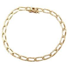 """7 1/2"""" 14k Gold Elongated Curb Link Bracelet"""