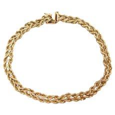 "7"" 14k Gold Double Rope Bracelet"