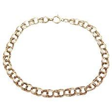 "7 5/8"" 14k Gold Double Link Charm Bracelet"