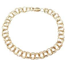 "7"" 14k Gold Double Link Charm Bracelet"