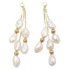 14k Gold Freshwater Pearl Earring Jackets